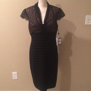A. Papell Black rivet lace dress 'New'